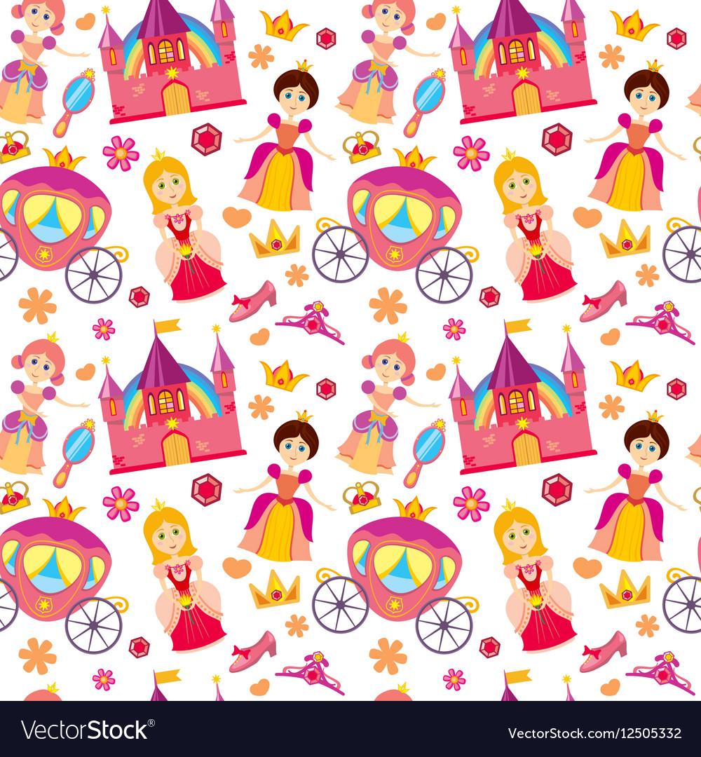 Beautiful princess seamless pattern magic