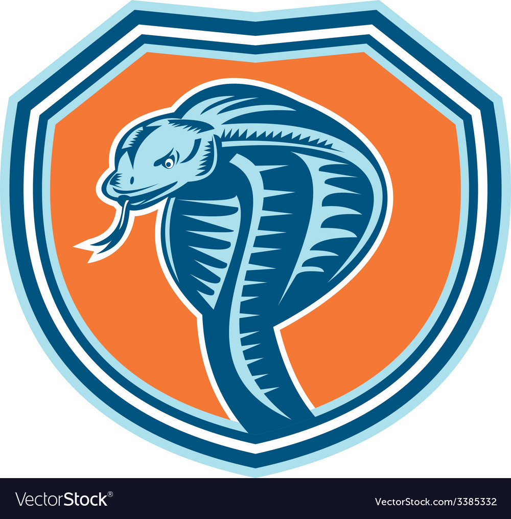 Cobra Viper Snake Head Shield Retro