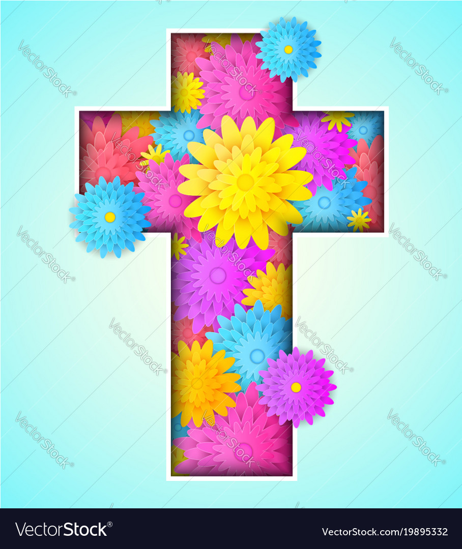 Cross with colorful flowers