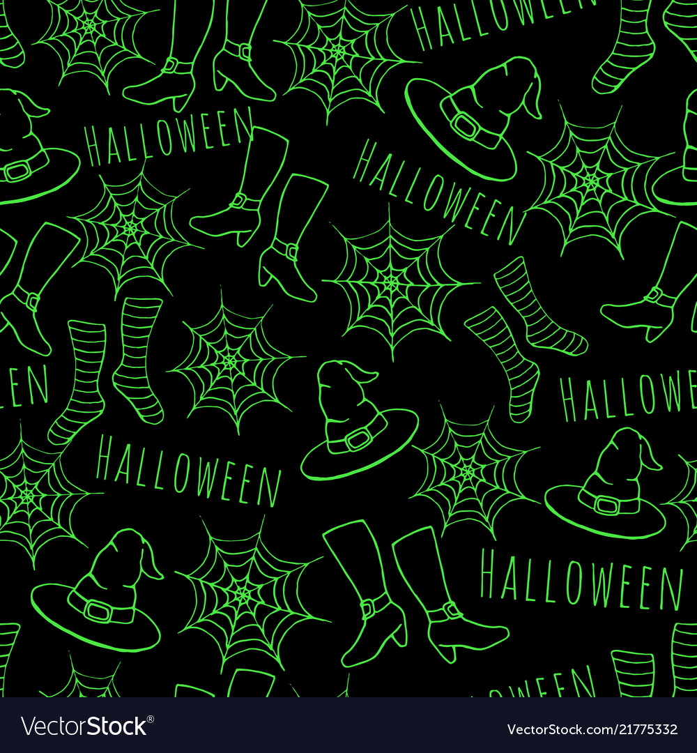 Hand drawn halloween seamless paatern with hat