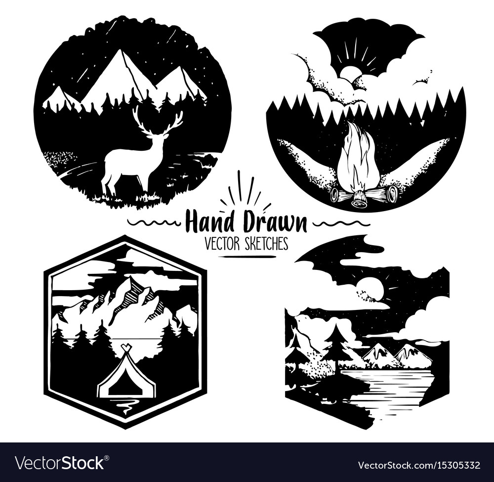 Hand drawn logo set trendy collection of outdoor