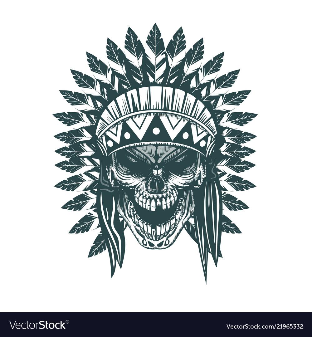 Indian skull monochrome hand drawn tattoo style