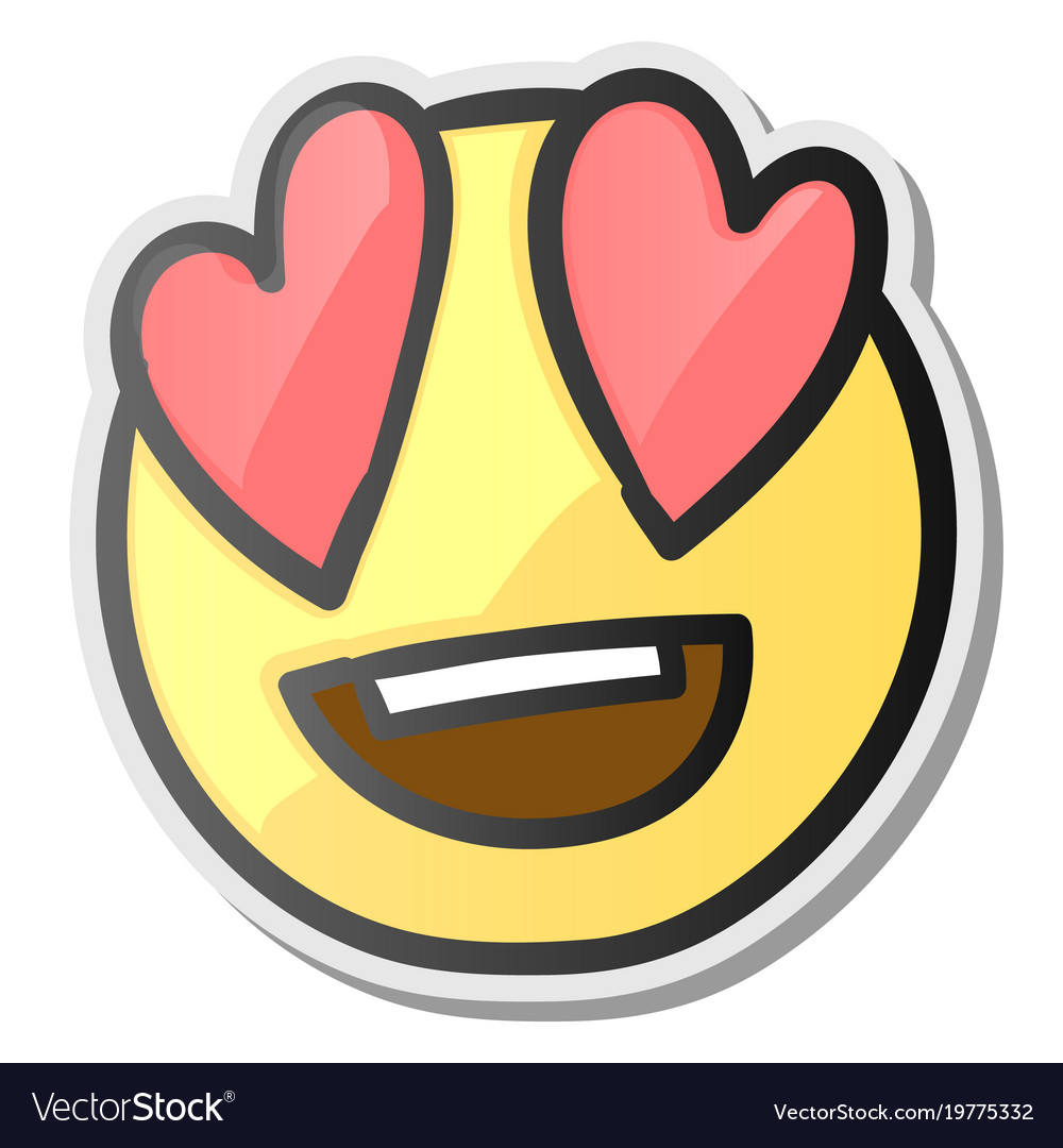 Loving eyes emoji emoticon with hearts eyes vector image