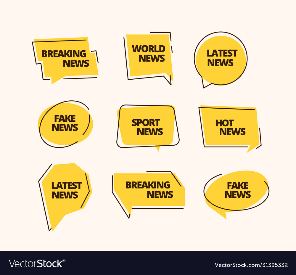 News banner set information label news headline