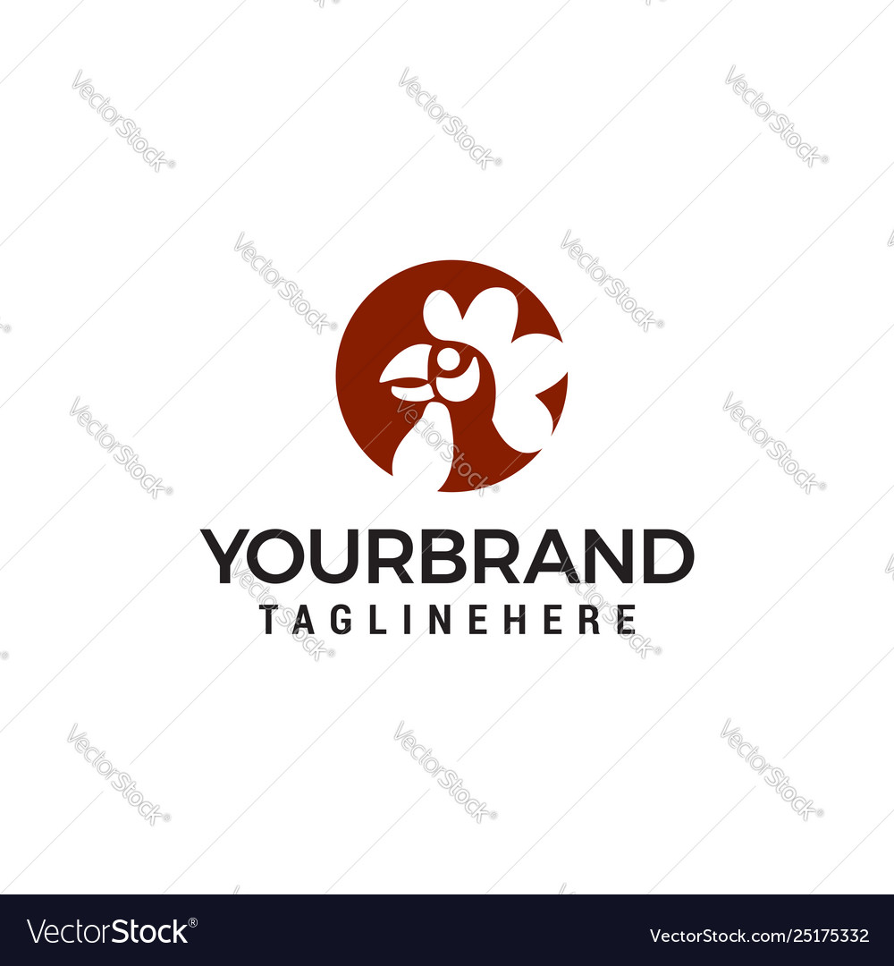 Roosters or chicken heads with circle logo design