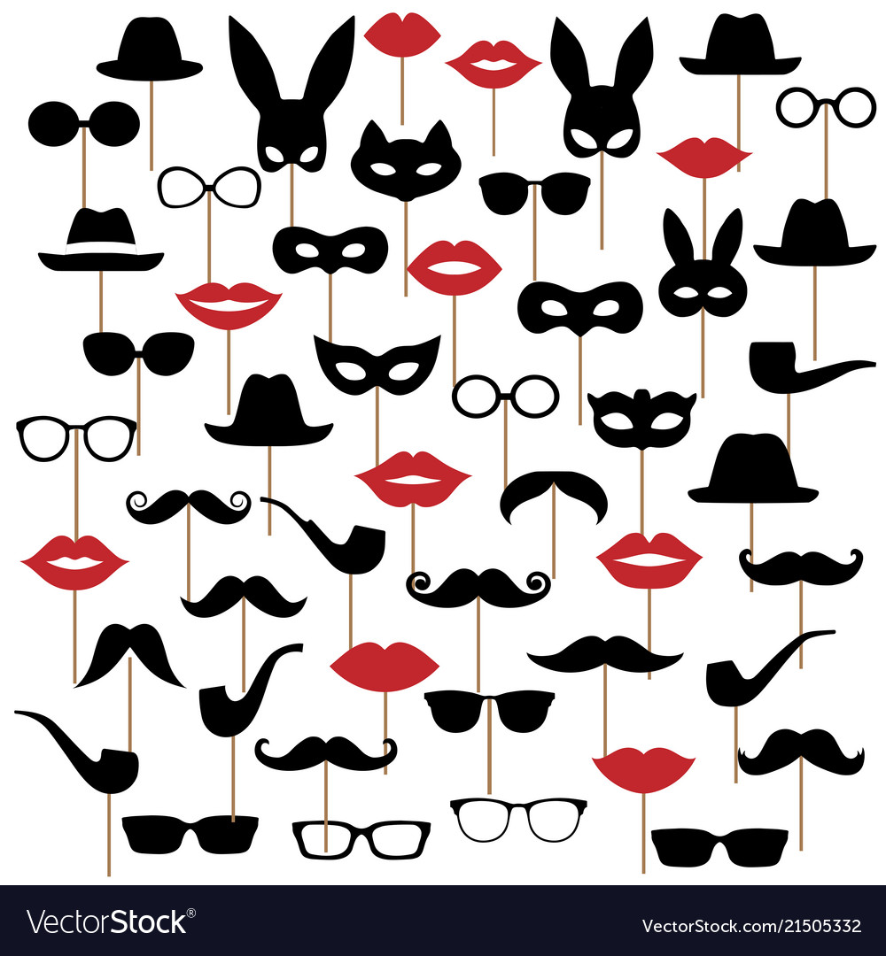 Set hats glasses masks lips and moustaches