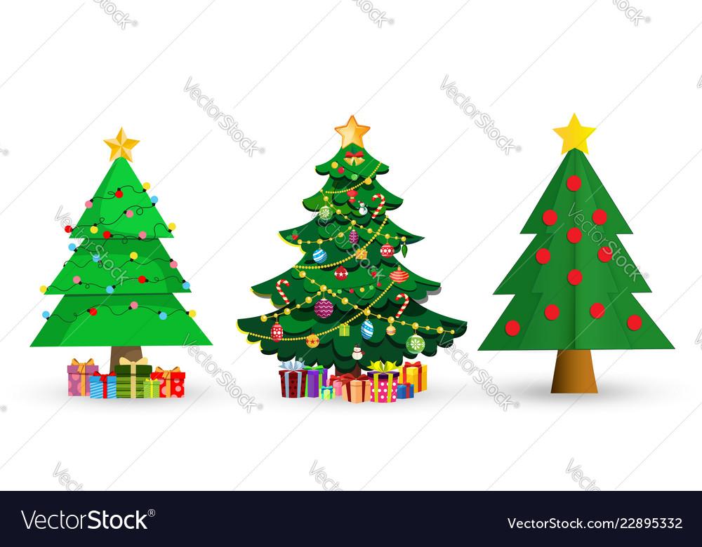 Set of cute cartoon christmas fir trees on white
