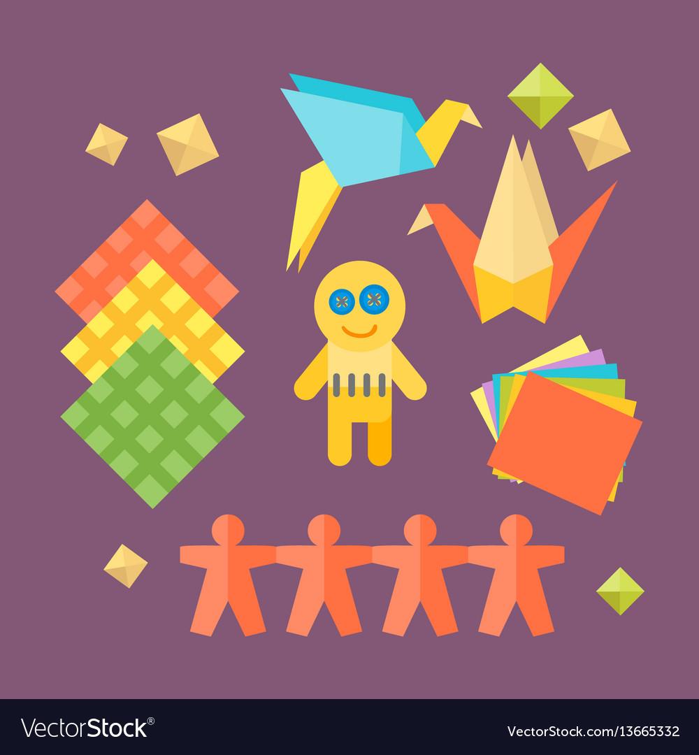 Themed kids origami creativity creation symbols