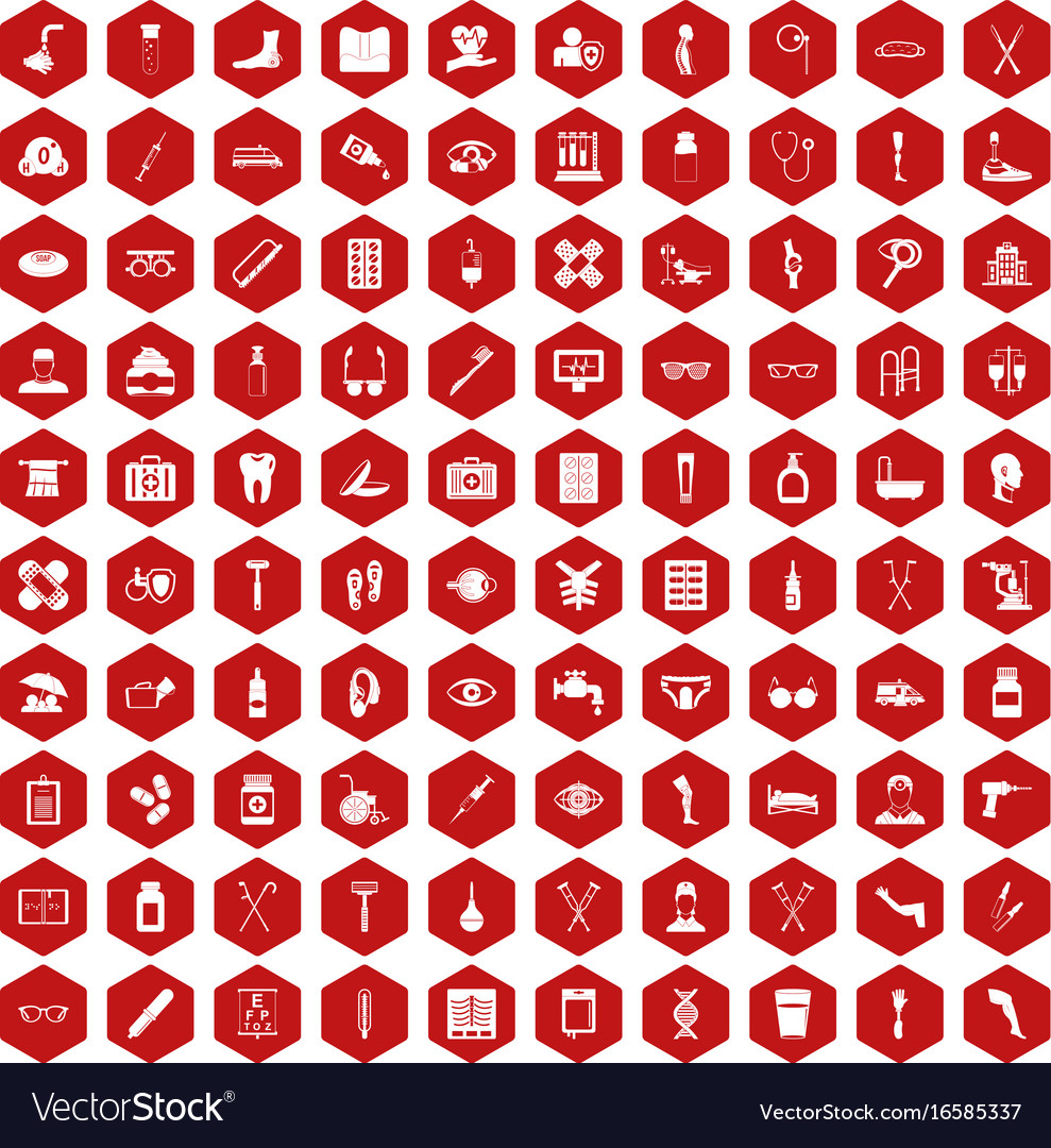100 disabled healthcare icons hexagon red