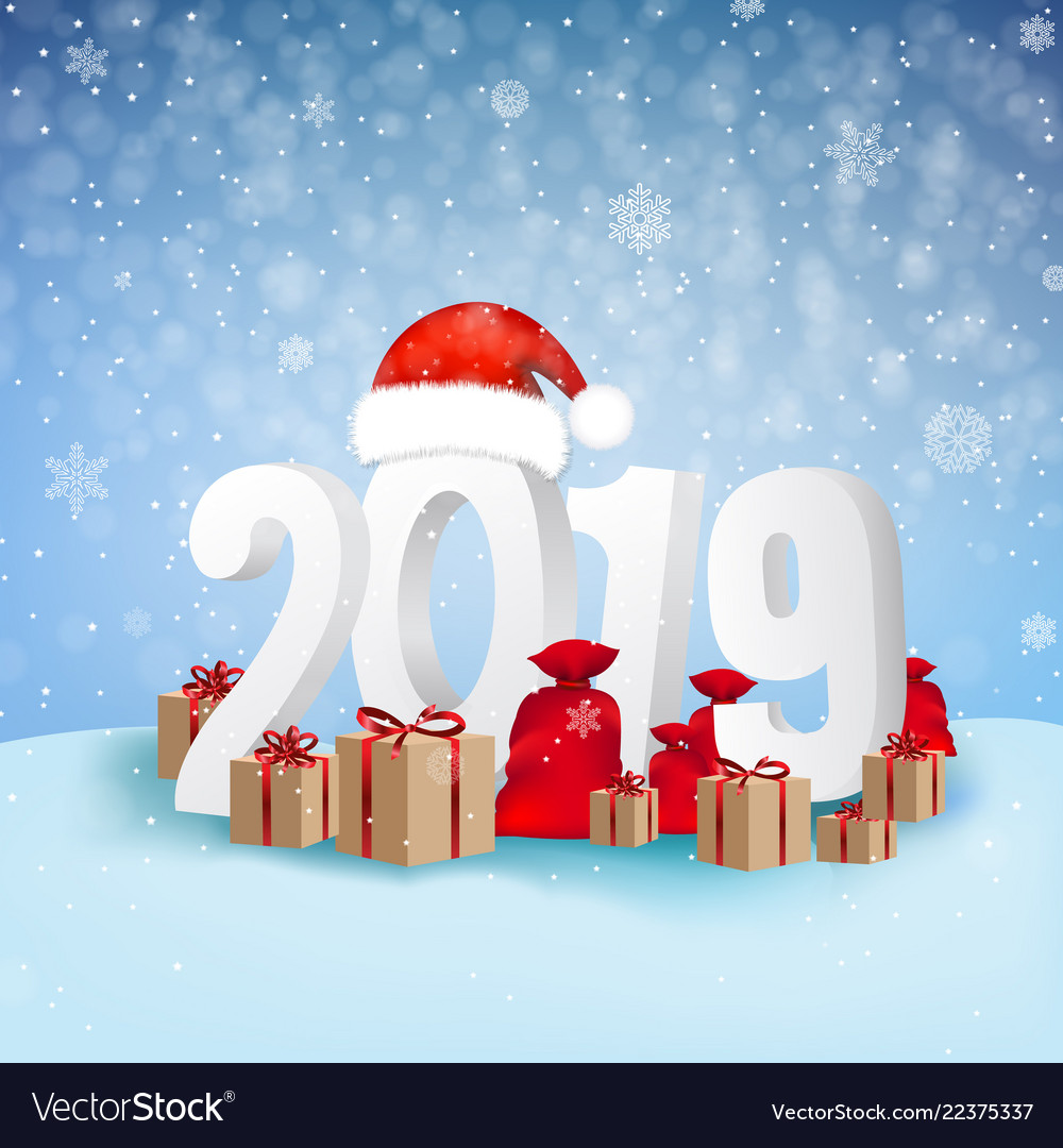 2019 happy new year background card vector image