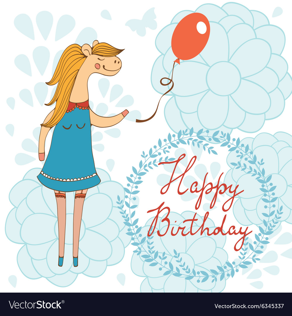 Adorable Happy birthday card with beautiful horse