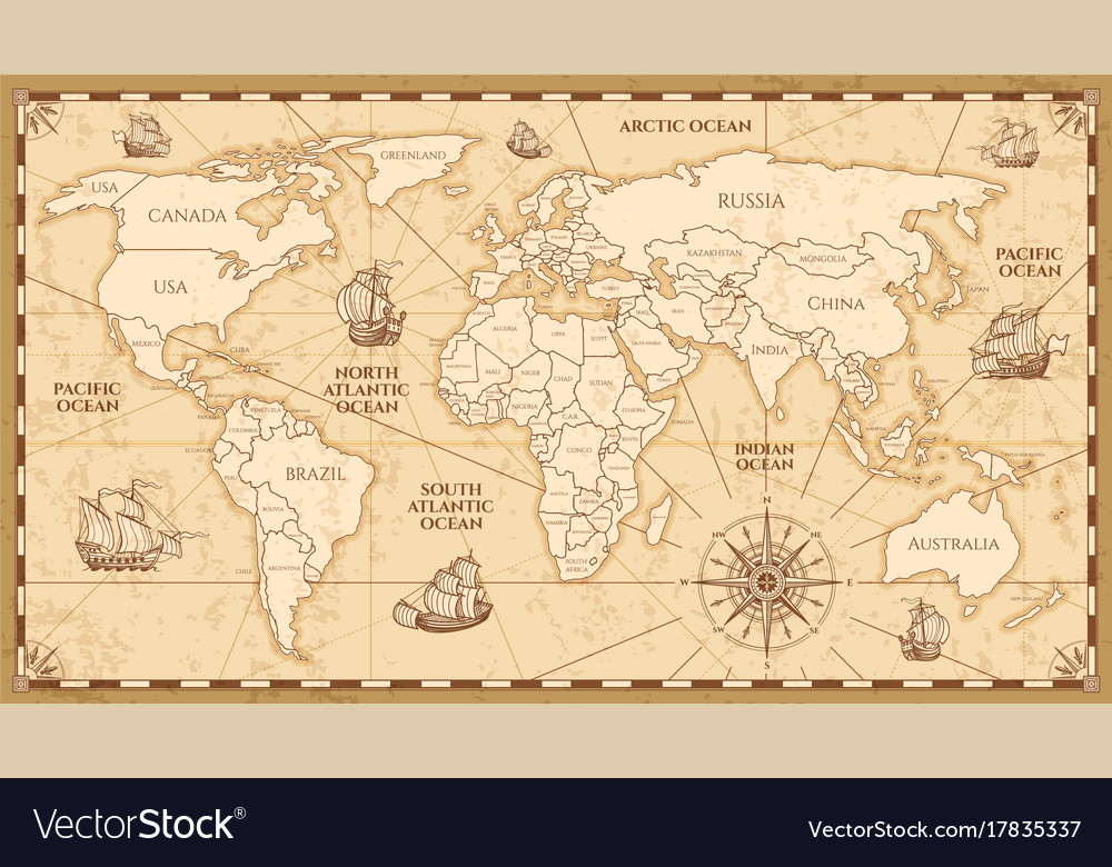 Antique world map with countries boundaries vector image gumiabroncs Image collections