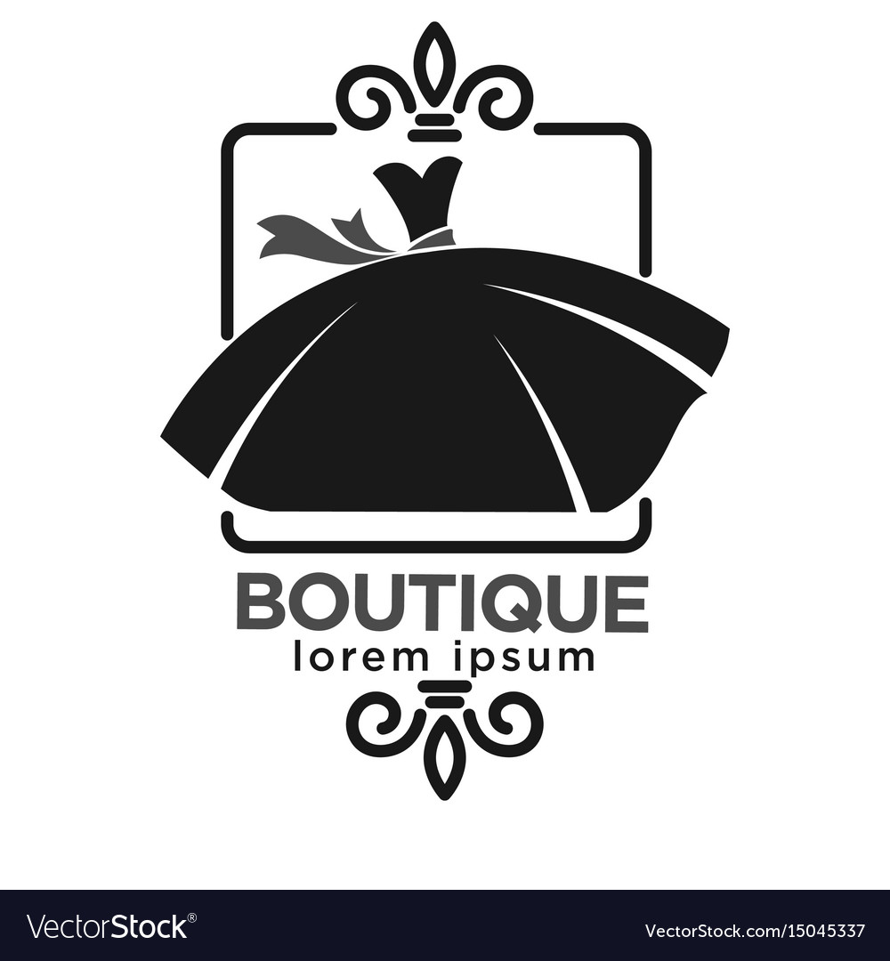Boutique black logo label with dress on white