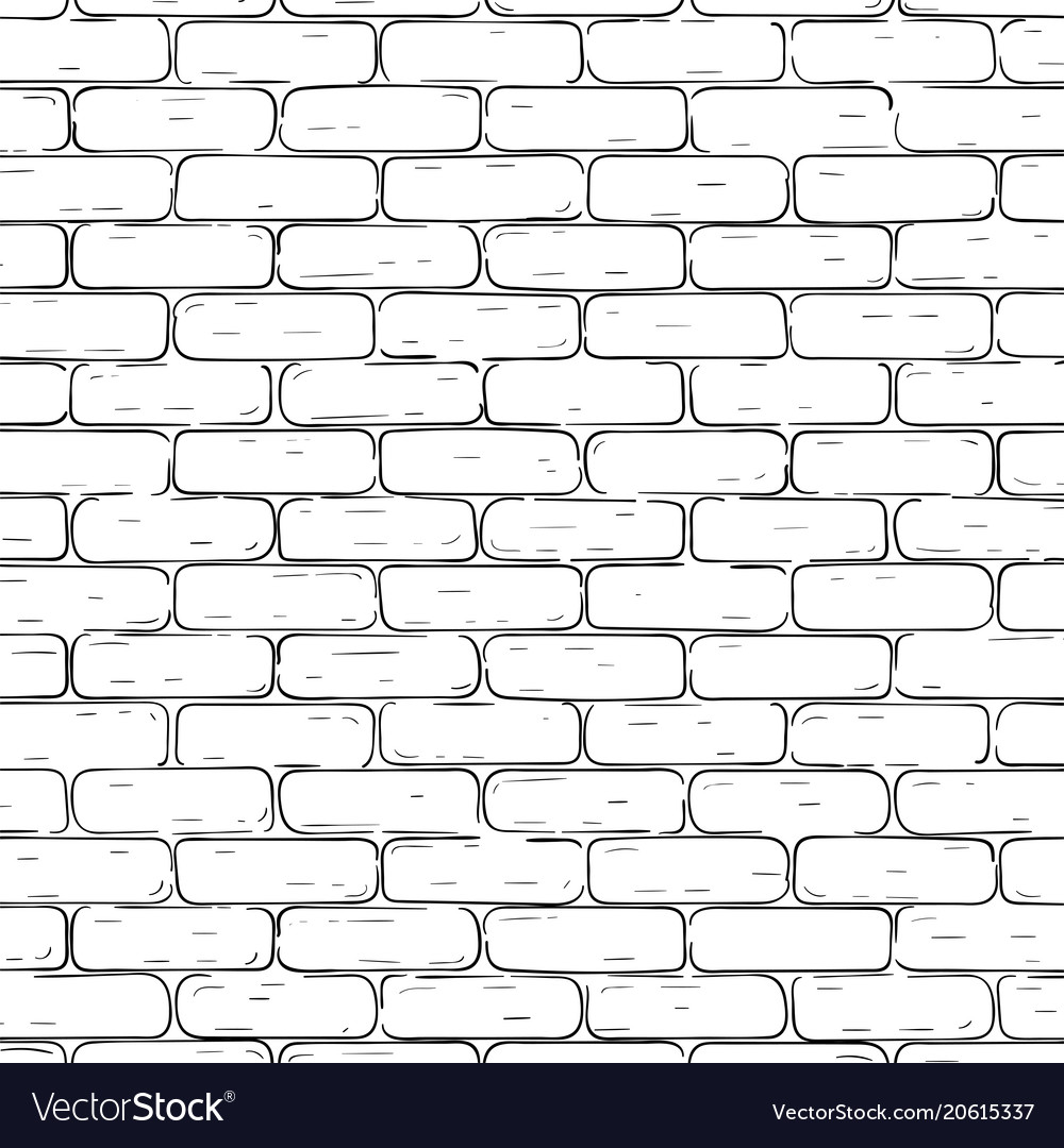 Brick wall background black and white texture Vector Image