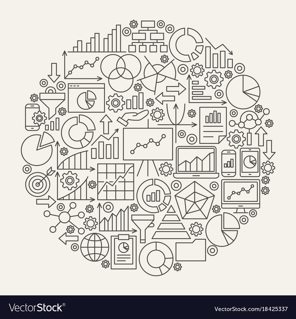 Business diagram line icons circle
