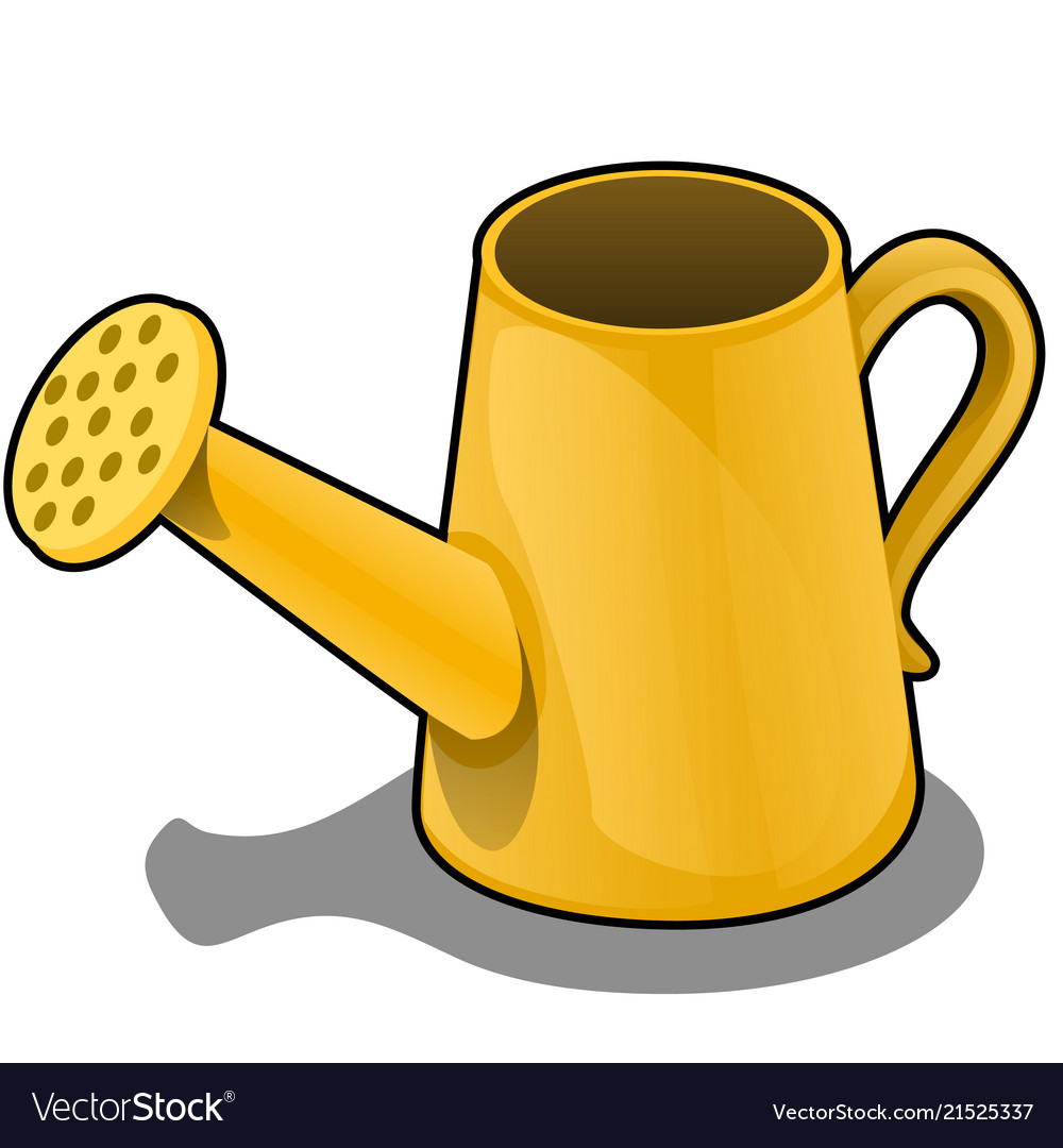 Cartoon the watering can is of orange color