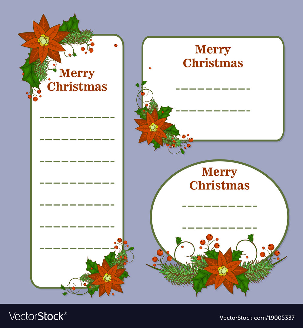 Cute christmas set with cards notes stickers vector image m4hsunfo