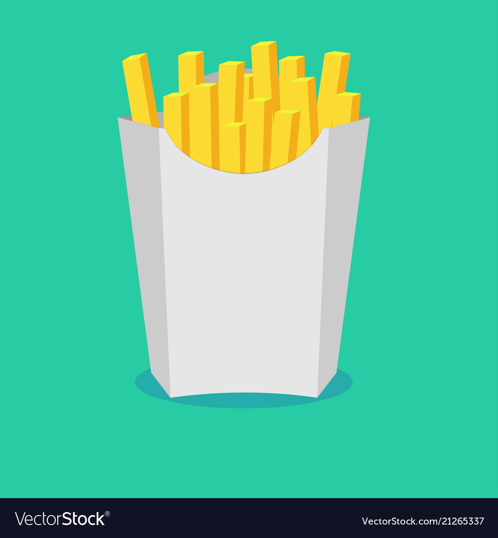 French fries in paper box isolated