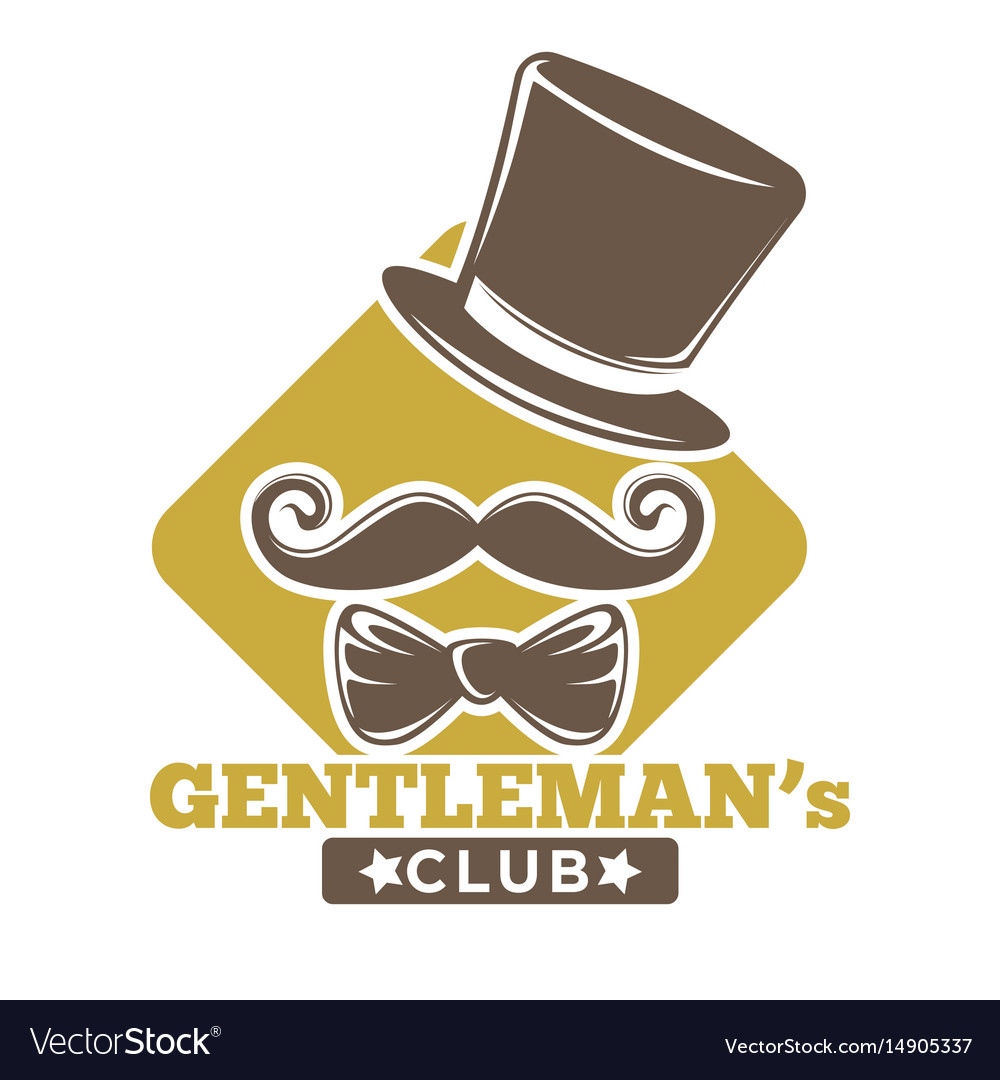 Gentlemans club logotype with hat bowtie and