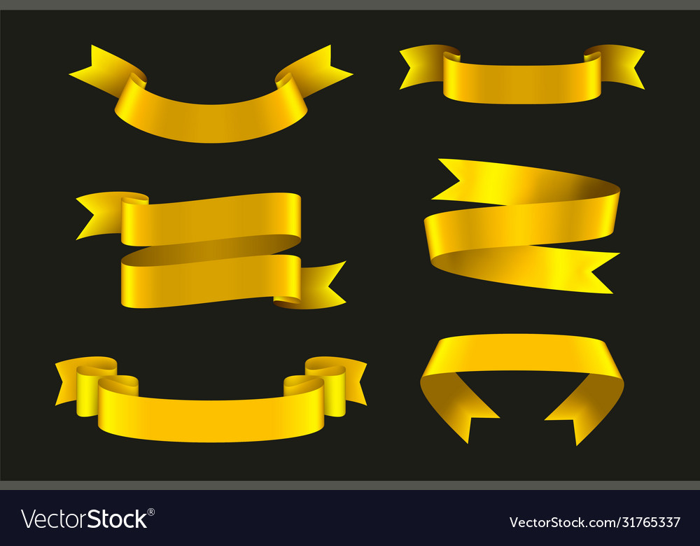 Gold ribbons set festive decoration element