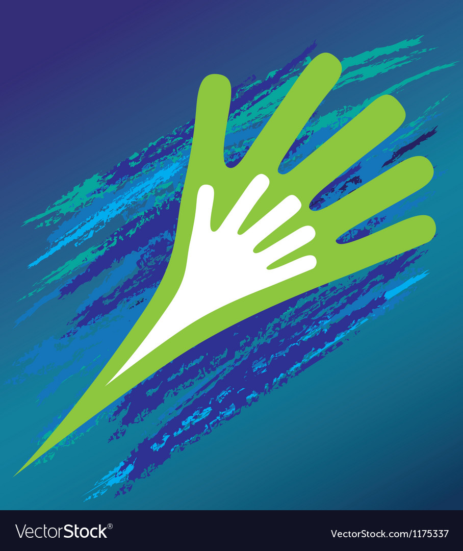 Hand of the child in father encouragement help vector image