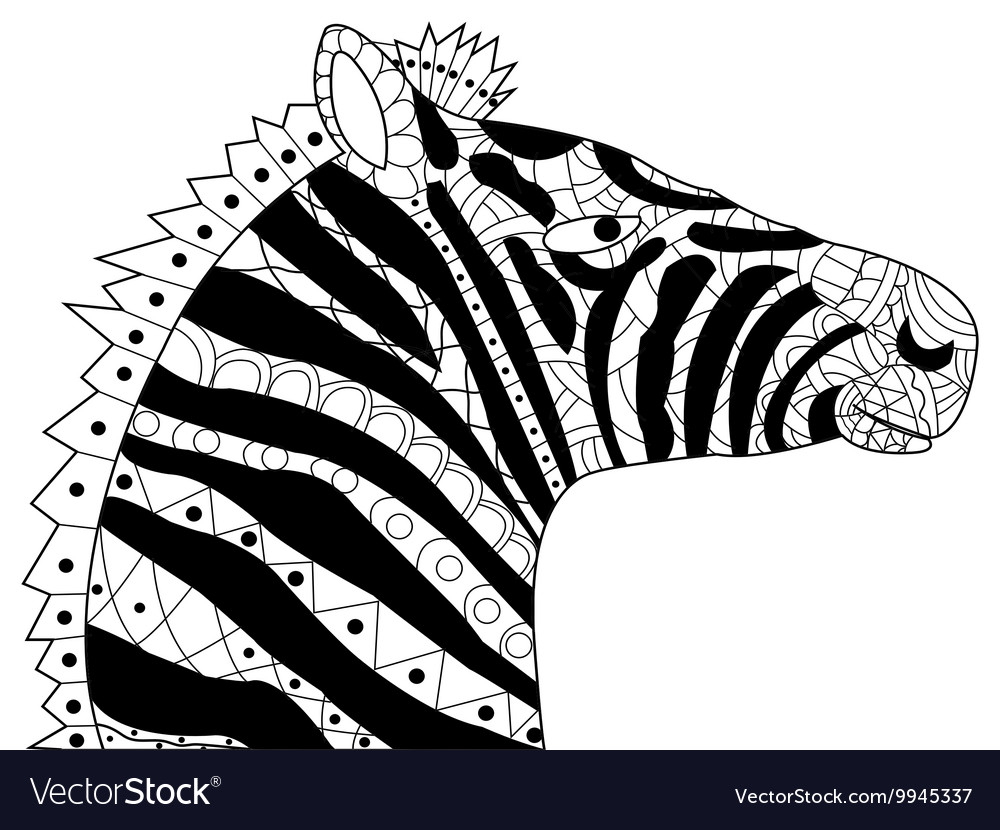 Head zebra coloring for adults
