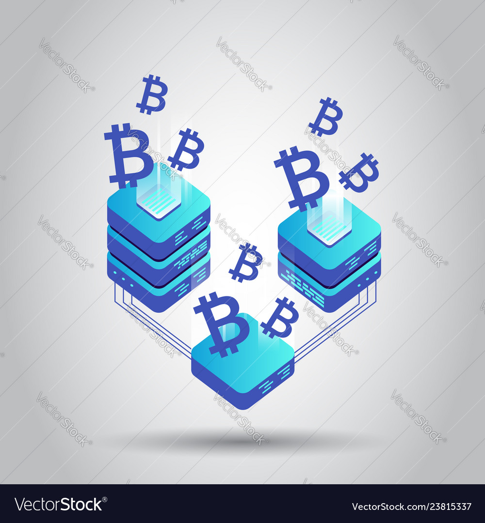 Mining bitcoin server icon in isometric style