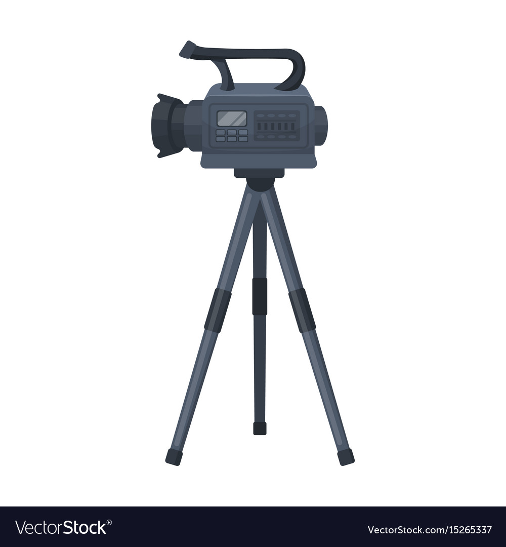 Movie Camera On A Tripod Making Single Vector Image