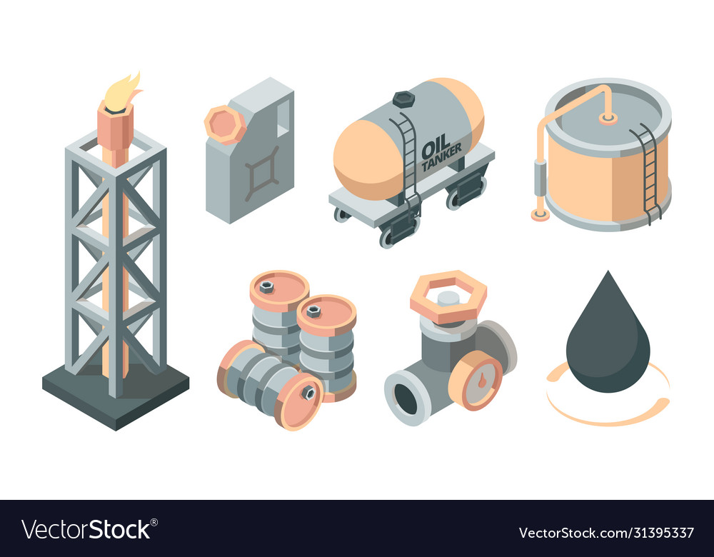 Oil isometric production set derrick with fire