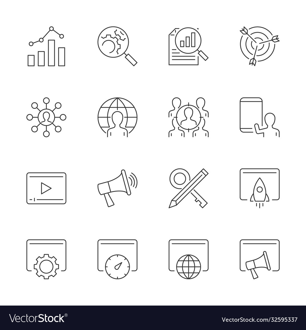 Search engine optimization line icons set on white