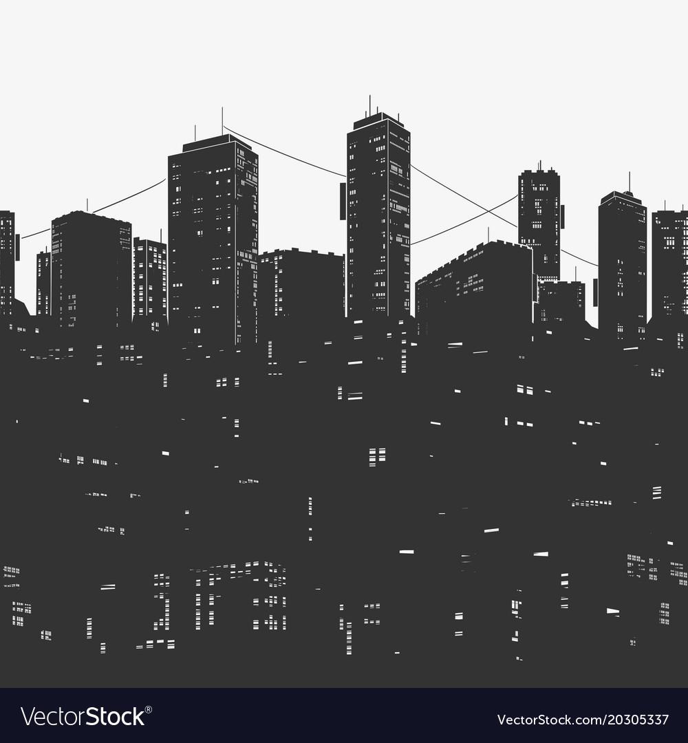 Urban city panorama and skyscrapers