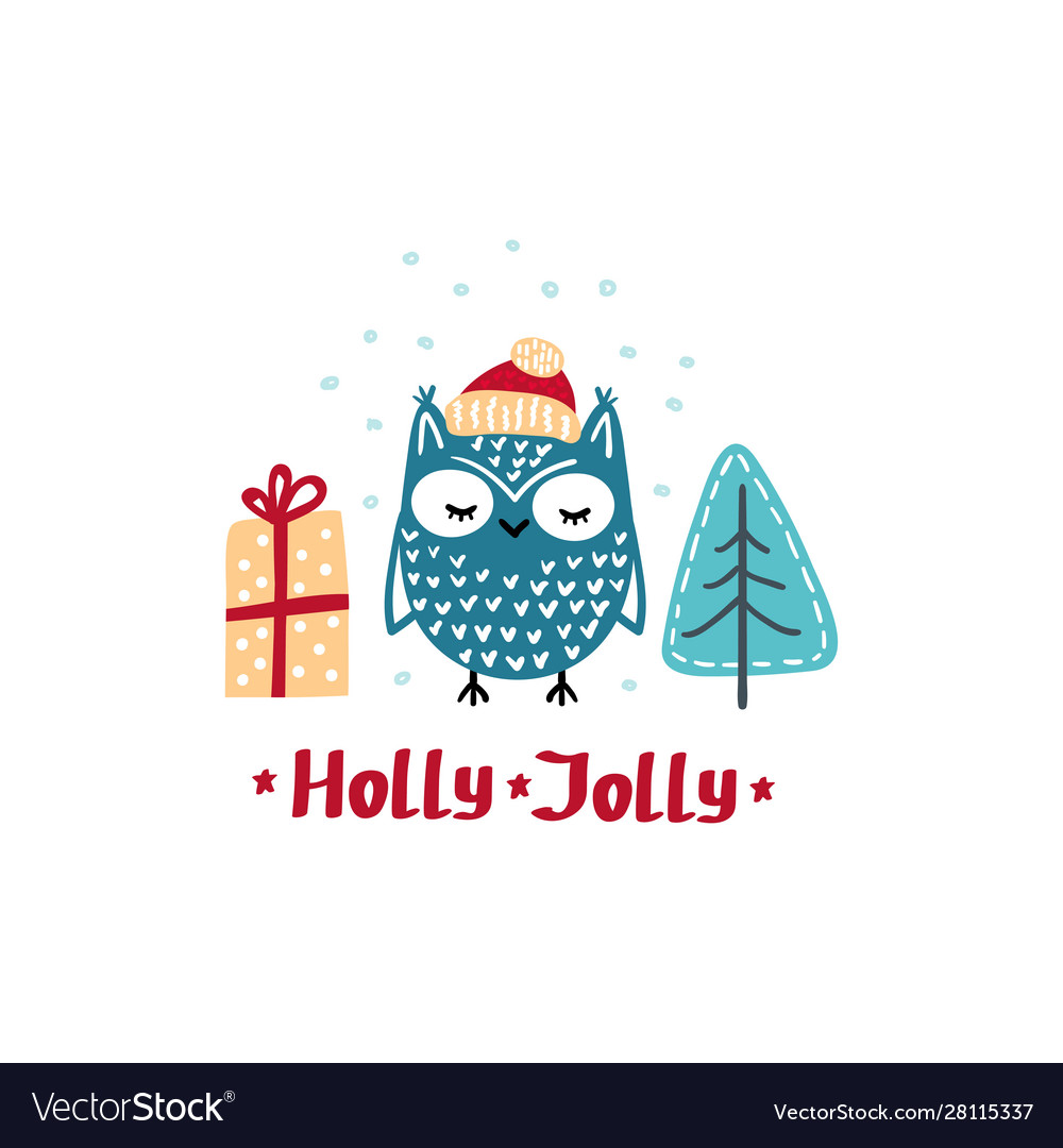 Winter card with cute owl