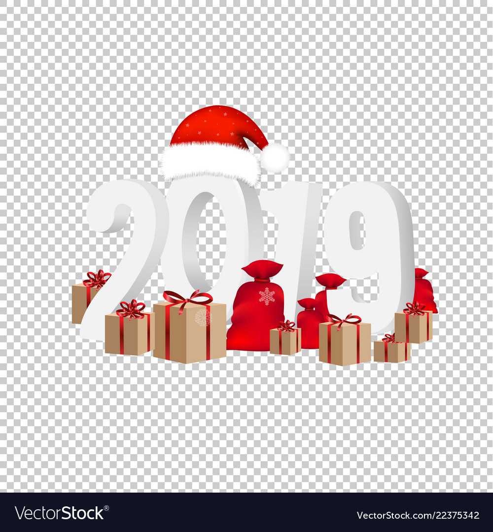 2019 new year text isolated transparent background vector image