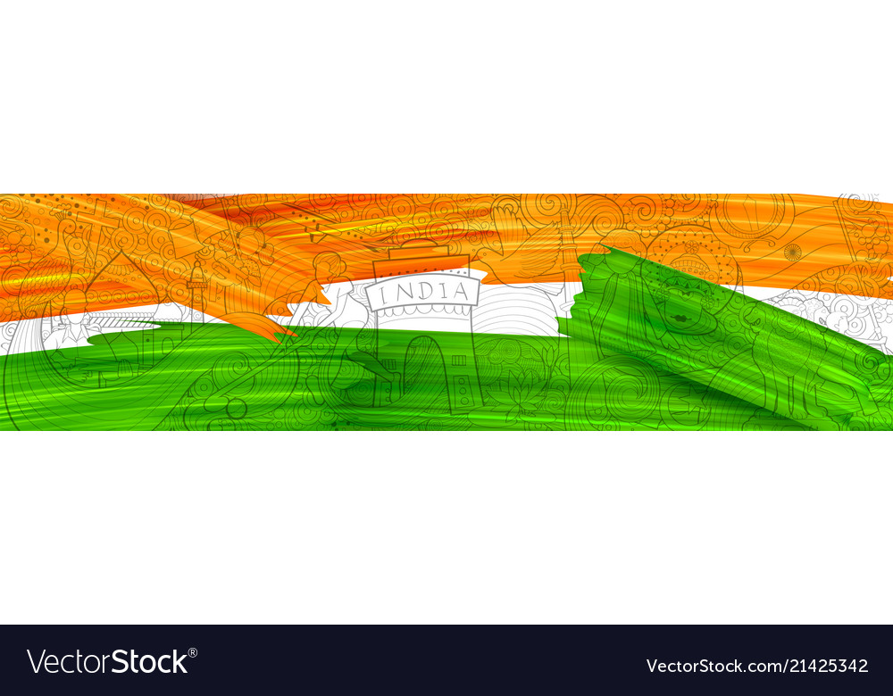 Acrylic brush stroke tricolor banner with indian