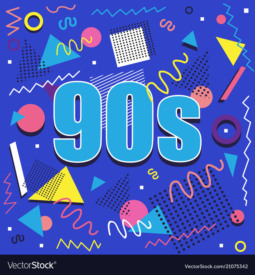 Best of 90s illistration with abstract retro
