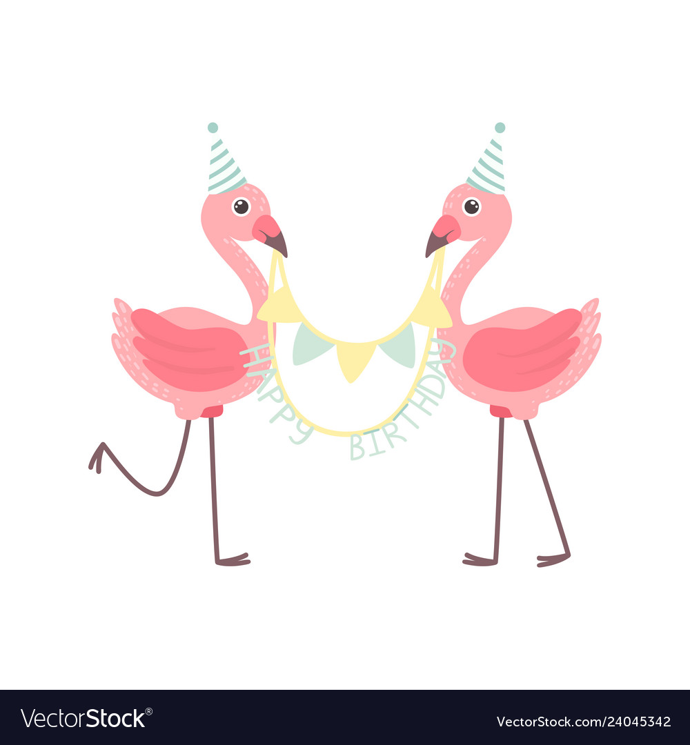 Cute flamingos wearing party hats holding party
