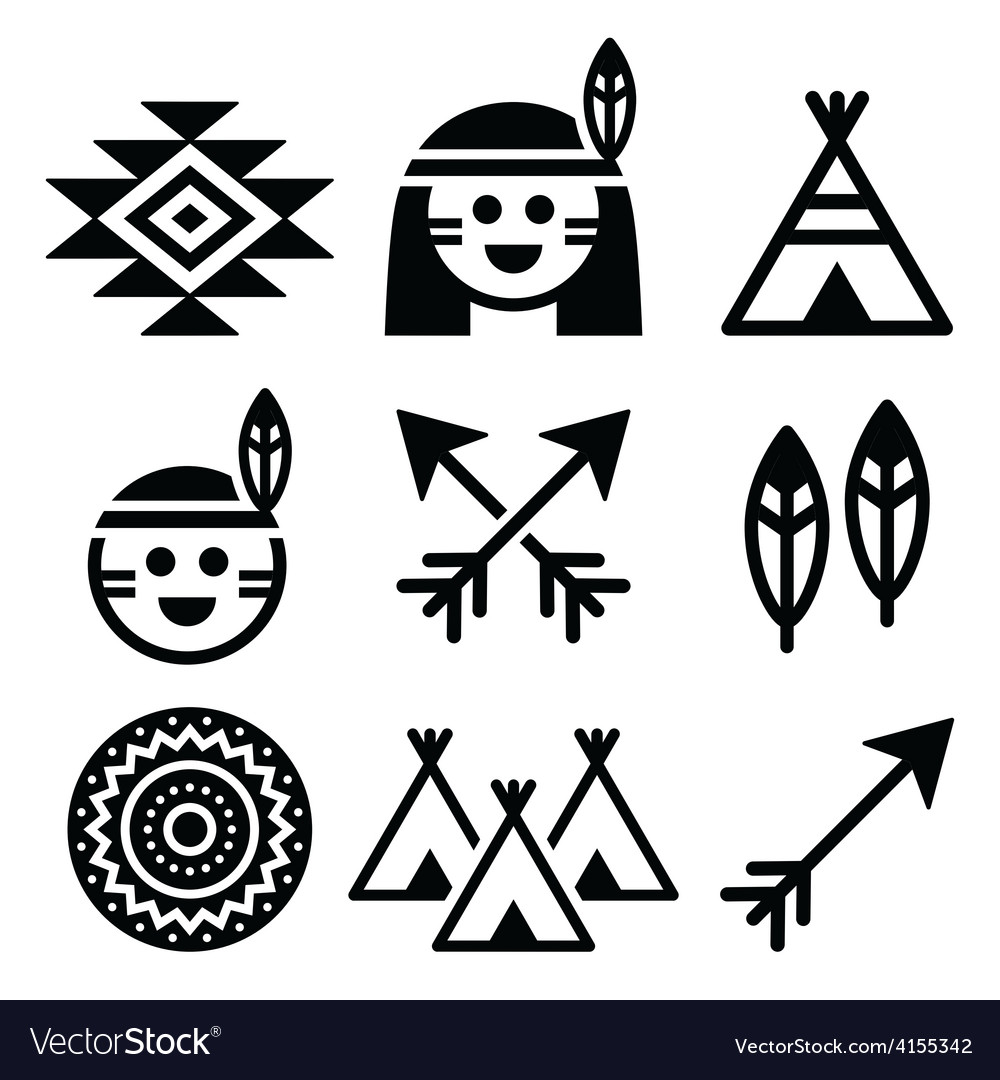 Indian American indigenous people culture icons