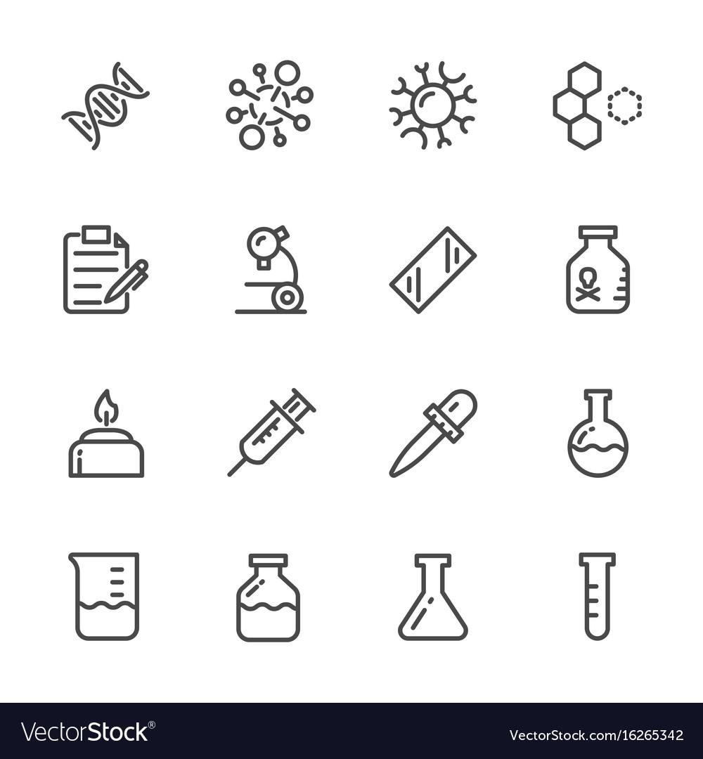 Laboratory equipment icons set line icons vector image