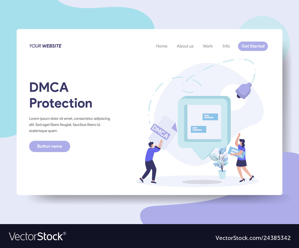 Landing Page Template Of Dmca Protection Concept Vector Image