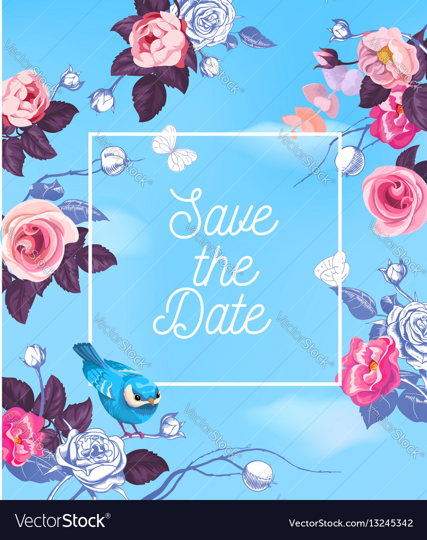 Lovely save date template with semi-colored