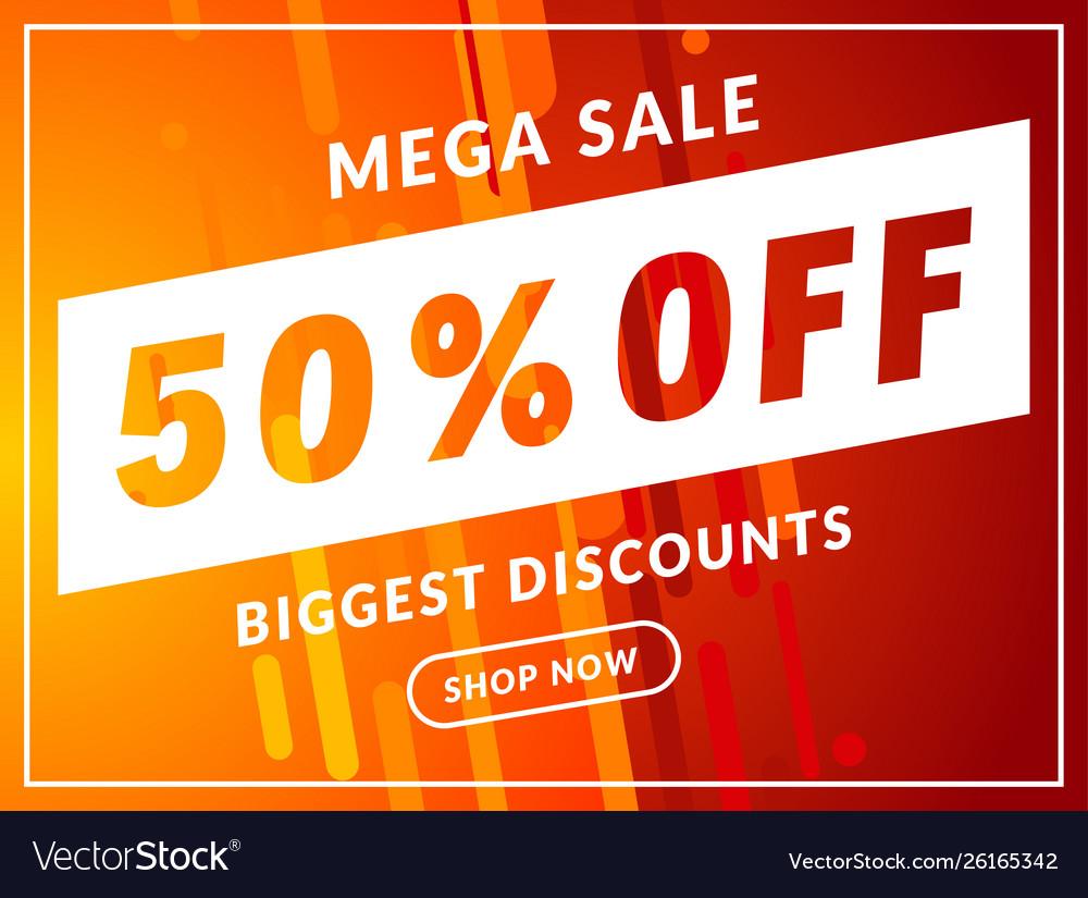 Mega sale 50 percent off banner template design