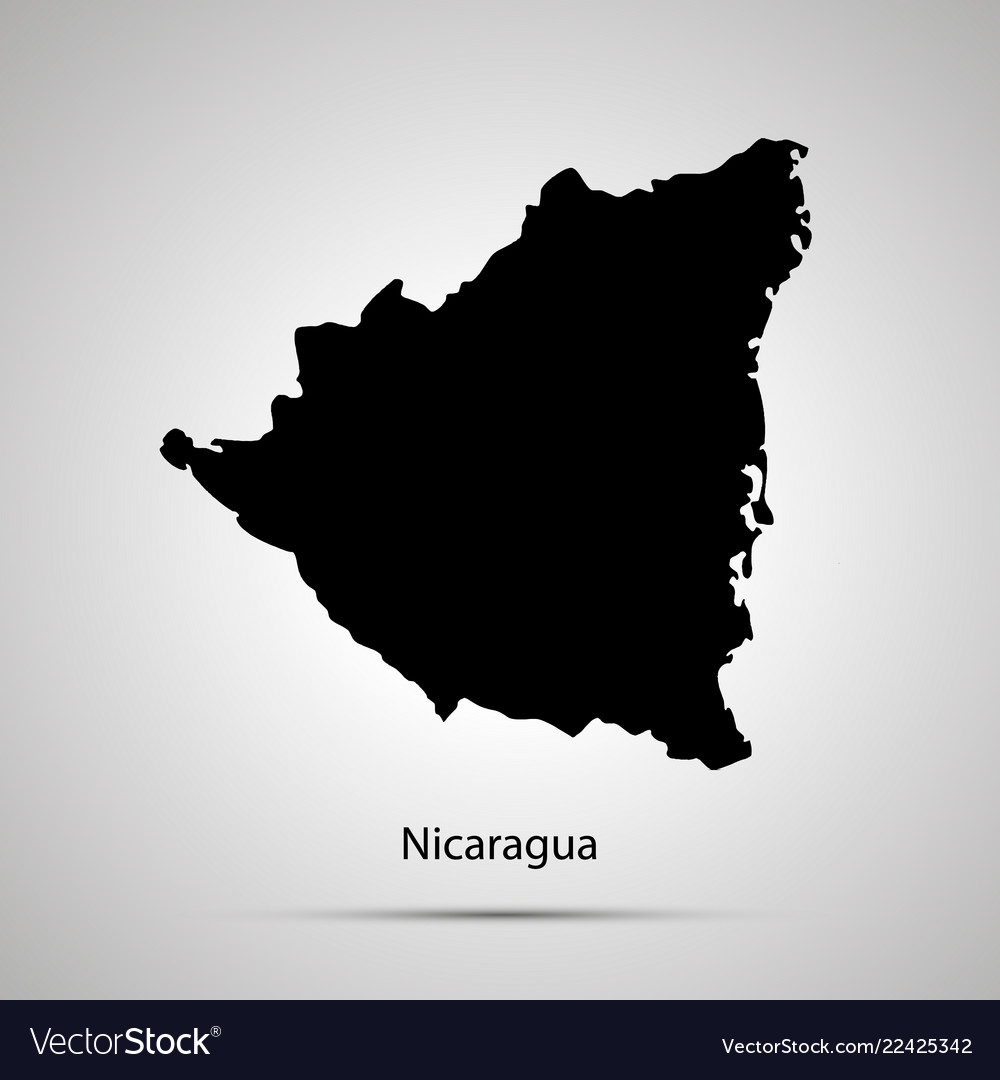 Nicaragua country map simple black silhouette on