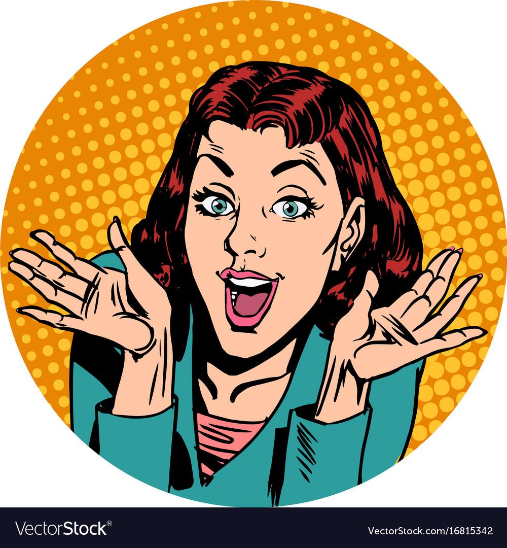 Surprise woman pop art avatar character icon