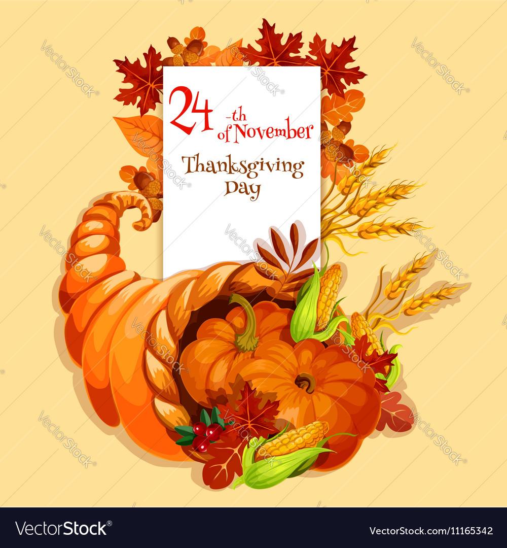 Thanksgiving Greeting Card Cornucopia Harvest Vector Image