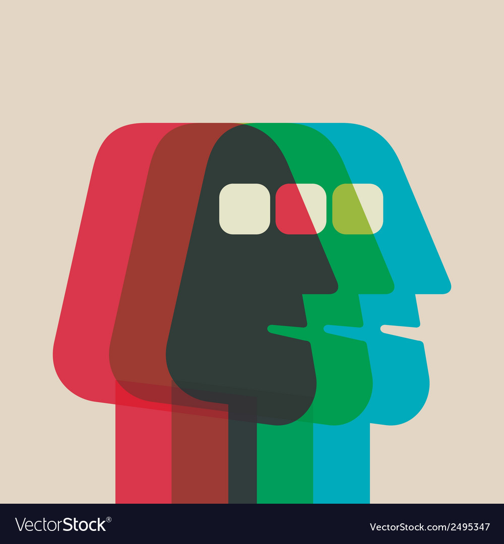 Abstract Color Men Face Overlap