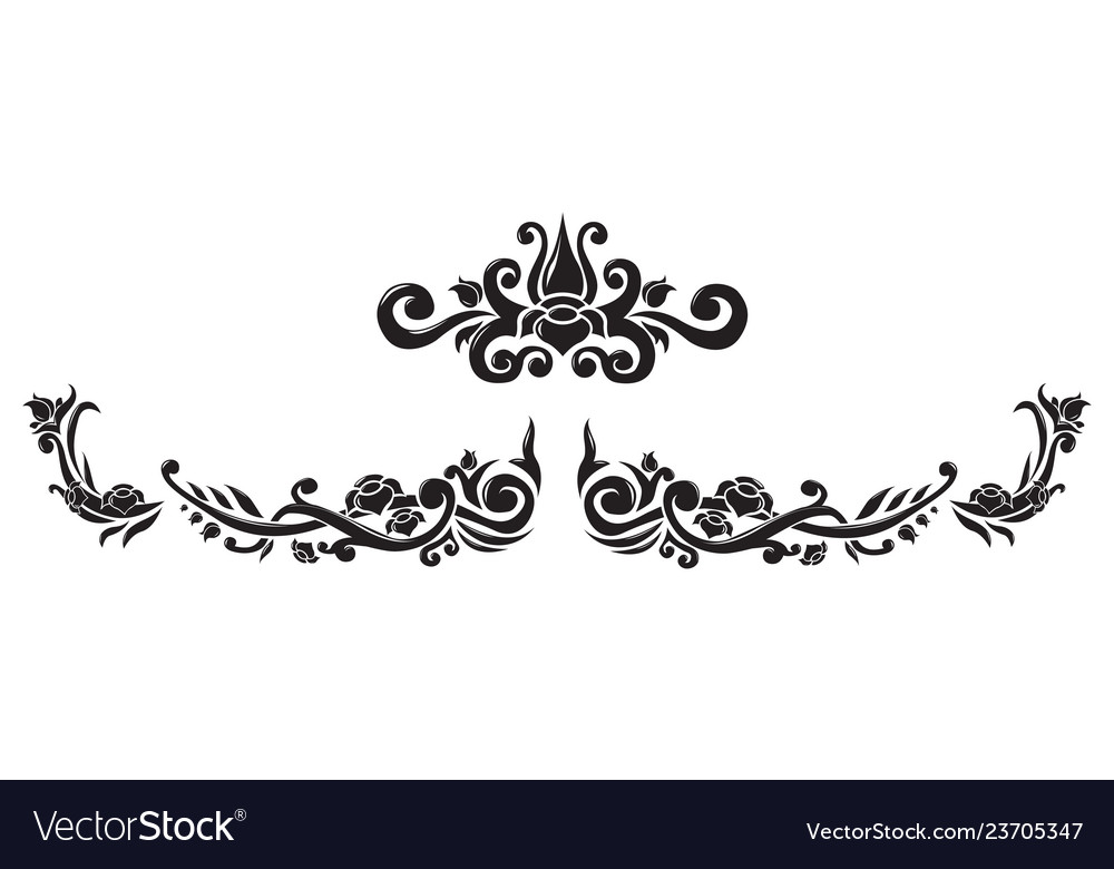 Abstract floral border and central element
