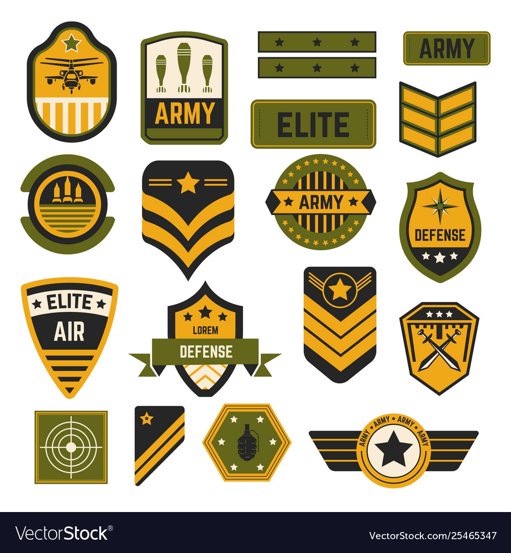 Army signs and badges or stripes elite military