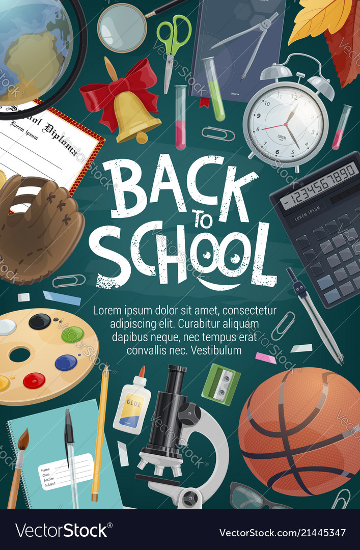 Back to school card of education student supplies