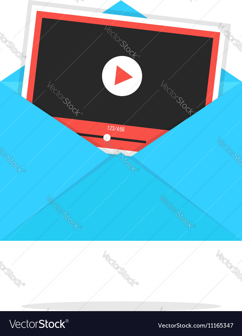 Blue open envelope with video player card