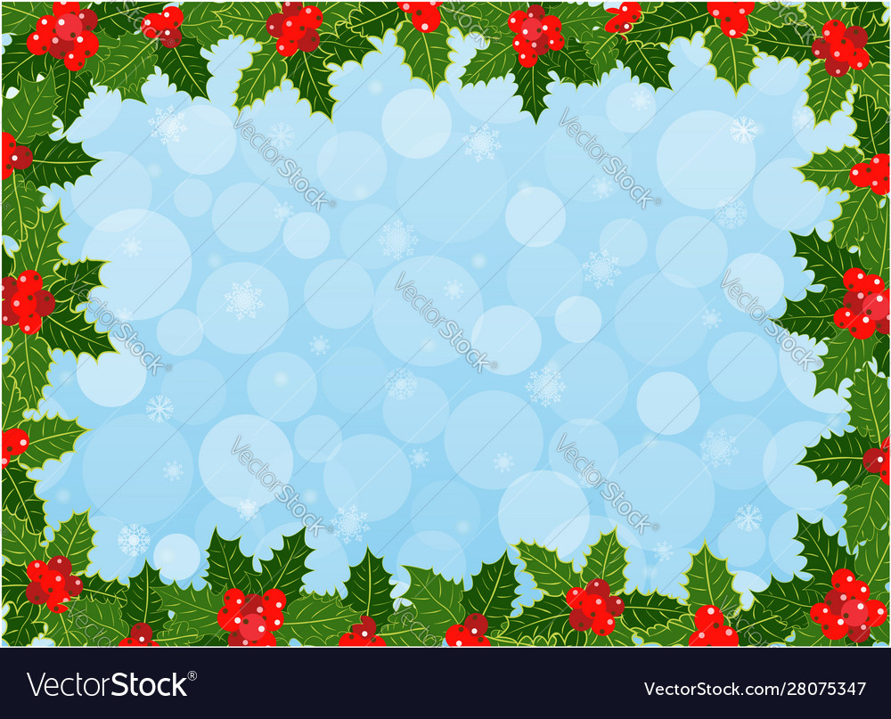 Christmas card frame background with holly leaves